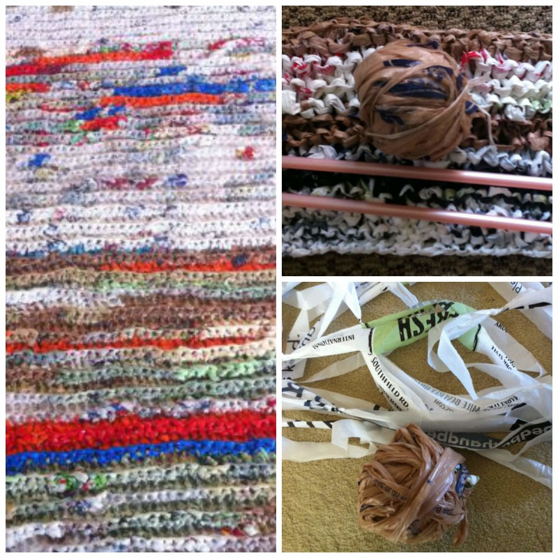Turning plarn into sleeping mats.