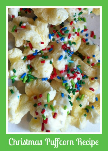 Guest pleasing recipe for Christmas Puffcorn.