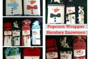 Personalized Popcorn Wrapper Snowmen & Hershey Bars