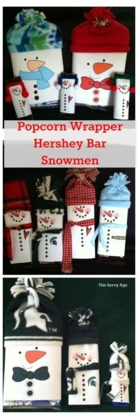 Easy DIy Popcorn wrapper and Hershey Bar Snowmen!