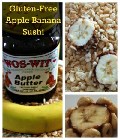 Gluten-Free Apple Banana Sushi recipe. Easy to make, easy to assemble for a healthy breakfast treat or snack anytime of the day.