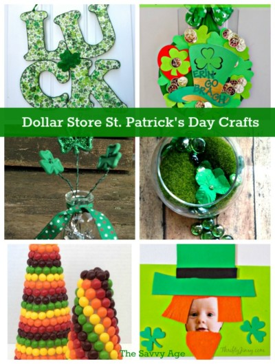 Enjoy 6 Dollar Store St. Patrick's Day crafts!