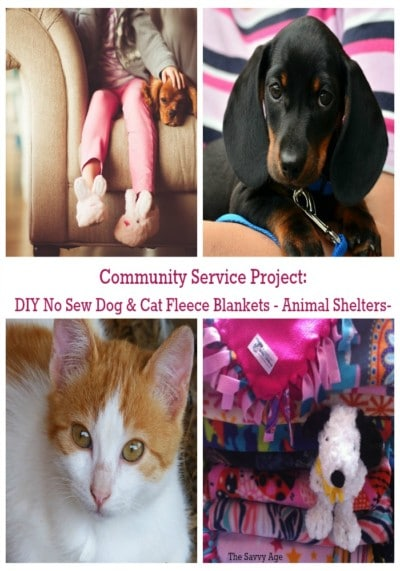 DIY No Sew Dog And Cat Fleece Blankets For Animal Shelters. Using our craft stash to do good!