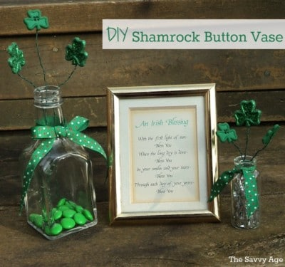 DIY Shamrock Button Vase for St. Patrick's Day!