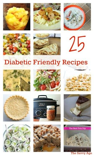 Enjoy 25 diabetic friendly recipes! Recipe round up w new ideas for your menu planning.