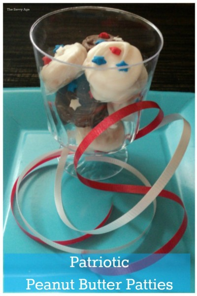 """Easy Patriotic Peanut Butter Patties. Copycat recipe for """"the"""" girl scout peanut butter cookie!"""