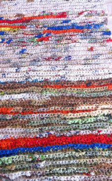 Example of plarn sleep mat for homeless.