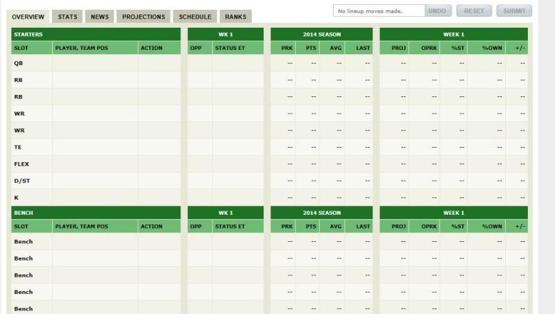FFL ESPN roster
