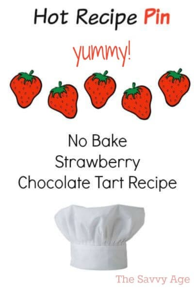 A most popular pin! Easy no bake strawberry chocolate tart recipe.
