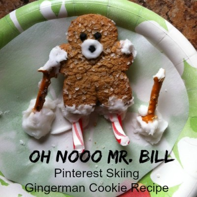 Pinterest recipe gone bad. OH NOOO Mr. Bill Skiing Gingerman cookie