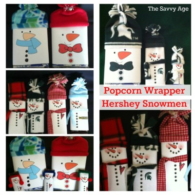 DIY Popcorn Wrapper and Hershey Bar Snowmen for the holidays!
