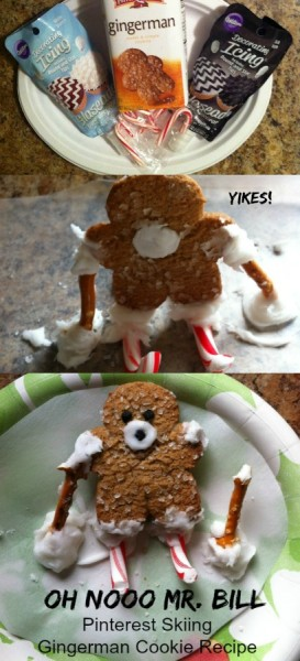 Oh Nooo Mr. Bill version of the Skiing Gingerman cookie from Pinterest.
