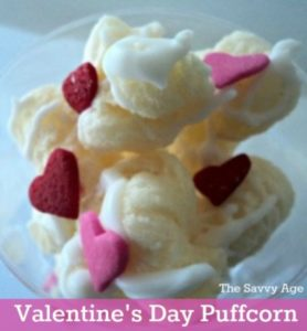 Puff it up! Valentine's Day puffcorn recipe is yummy and a crowd pleaser!