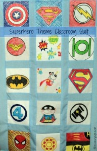 Community service idea and volunteer project for kids! Create a Classroom quilt. This is our superhero theme classroom quilt.