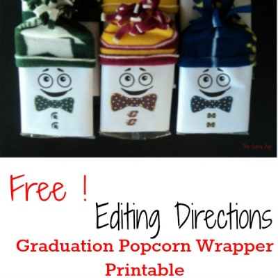DIY Graduation Popcorn Wrapper Printable Editing