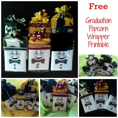 Graduation Party Favor: Popcorn Wrapper Printable