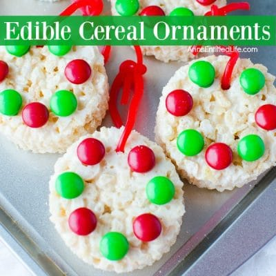 edible cereal ornaments with M&M's