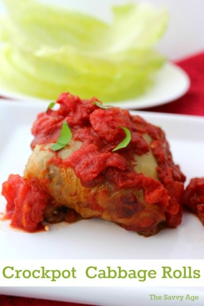 Cabbage roll topped with tomato sauce on a white platter.