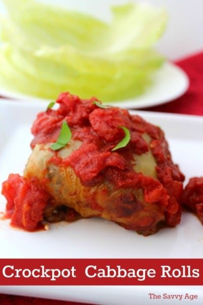 Cabbage roll with tomato sauce on a white platter.