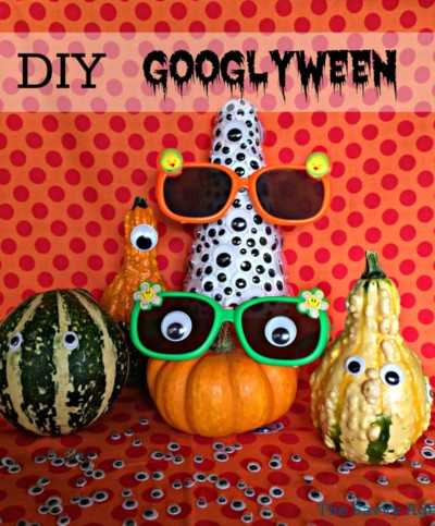 DIY Googlyween Halloween Decoration. Use your craft stash and the dollar store for a fun centerpiece.