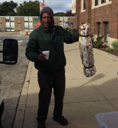Metro Detroit recipient of a plarn sleeping mat for the needy.
