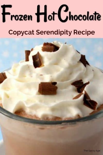 Frozen hot chocolate in a glass with whipped cream.