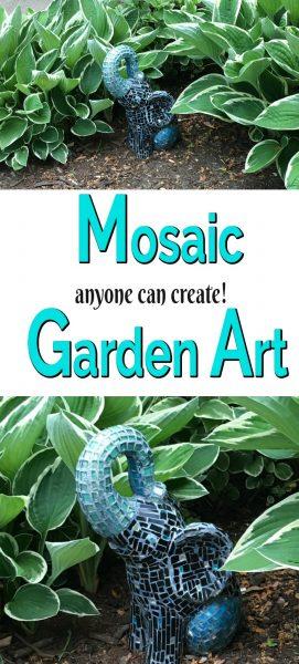 blue mosaic elephant garden statute