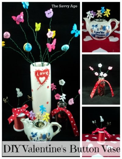 DIY Valentine's Day Button Vase. Easy craft which is great for all ages.