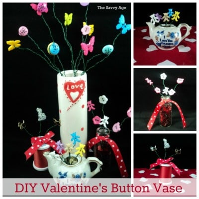 Easy DIY Valentine's Day Button Vase at the dollar store!