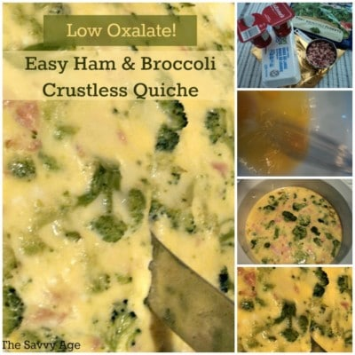 Easy to make, easy to bake Low Oxalate Ham And Broccoli Crustless Quiche recipe.