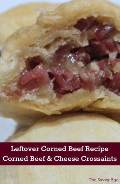 Leftover corned beef recipe. Easy recipe to use leftover corned beef plus your favorite cheese in a yummy croissant.