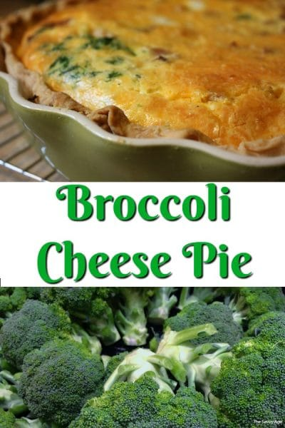 Piece of broccoli cheese pie and broccoli.