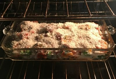 Vegetable casserole in oven.