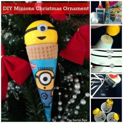 Taadaa! DIY Minions Christmas Ornament. Use your craft stash to make this cute homemade Minions Christmas Ornament.