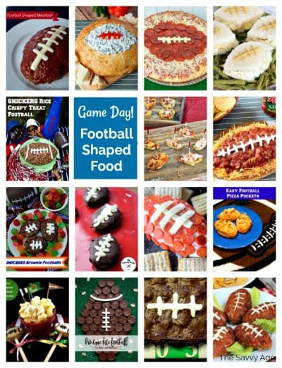 football shaped food collage