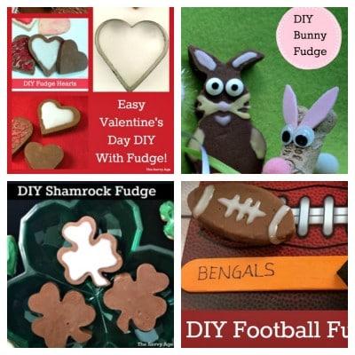 Fudge hearts, fudge shamrocks, fudge bunny