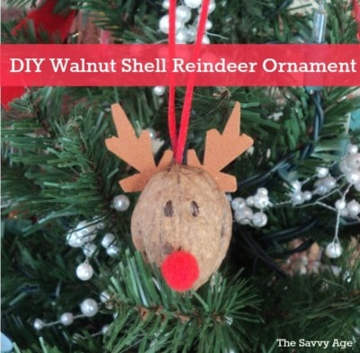 Fun and easy DIY Reindeer Ornament. Use walnut shells for this cute homemade ornament.