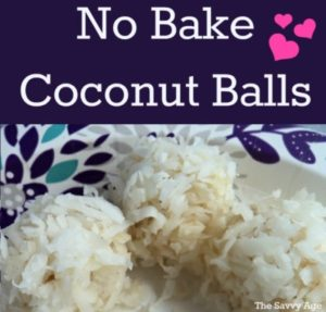 Three no bake coconut balls.