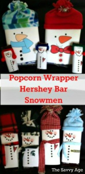 Easy Christmas DIY and fun stocking stuffer! Christmas Popcorn Wrapper Snowmen and Candy Bars.