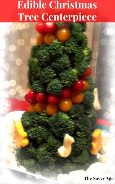 Christmas tree centerpiece made of vegetables.