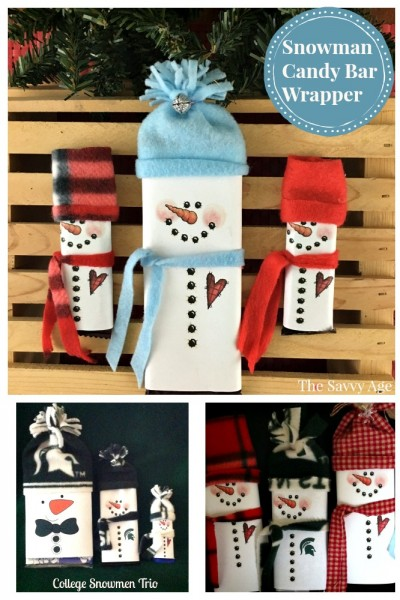 Collage Snowman Popcorn Wrapper and Snowman Candy Bar Wrapper Christmas stocking stuffers.