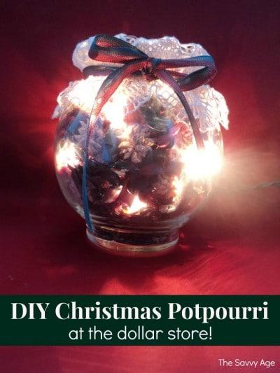 Lighted jar of Christmas Potpourri