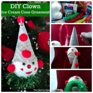 Smile! DIY Clown Ice Cream Cone Ornament