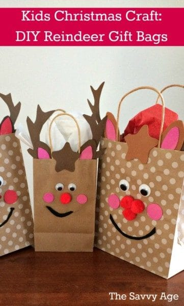 Christmas Kids Craft! DIY Reindeer Gift Bags.