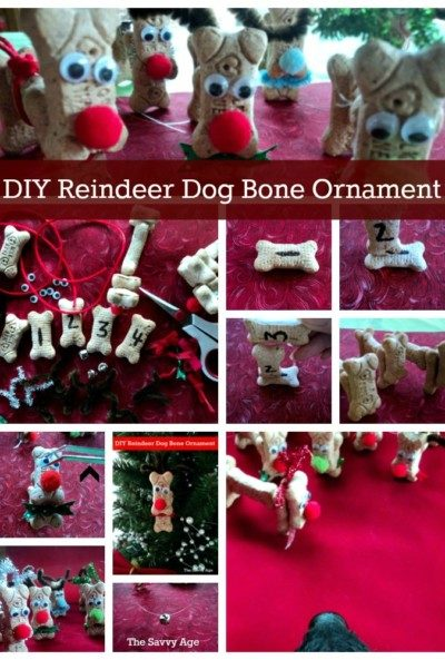 Reindeer Ornaments made from dog bones.