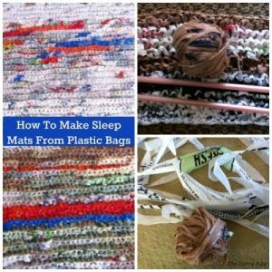 Plarn made from plastic bags for sleep mats for homeless.