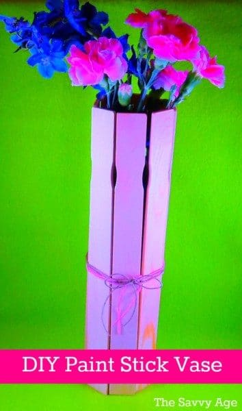 Fun DIY Paint Stick Vase! Use paint sticks to make this quick and easy craft for your home or any holiday!