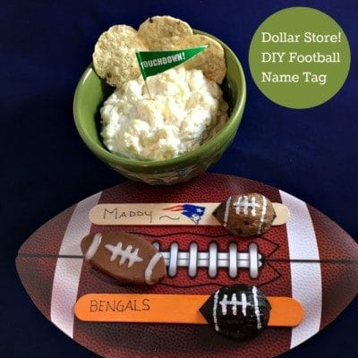 DIY Dollar Store Craft! Use Walnut Shells to make Popsicle Stick Football name tags for game day! Fun kids activity with popsicle sticks for your little fan.