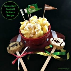 Quick and easy Football Puffcorn recipe! The No Bake treat perfect for game day!