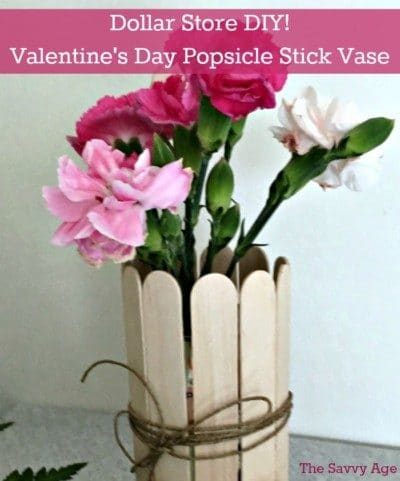DIY Valentine's Day Popsicle vase at the Dollar Store! Fun Valentine's craft for kids and adults.